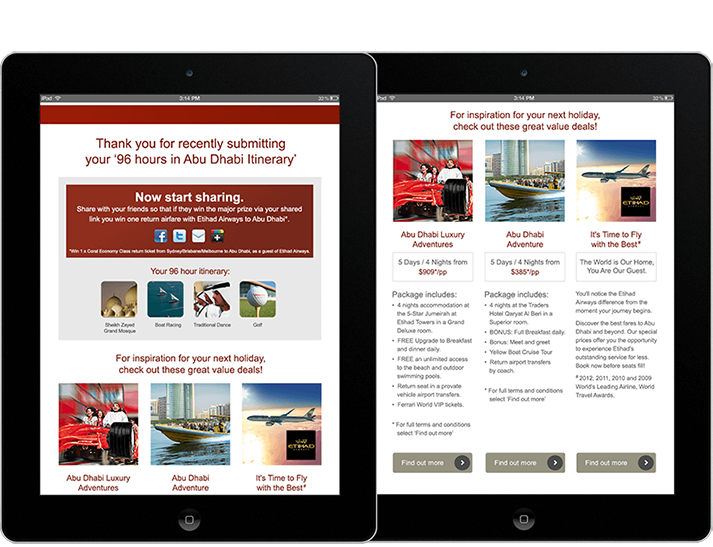For the Abu Dhabi online advertising campaign RADAR developed electronic direct mail and eDMs