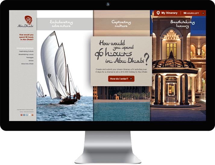 RADAR built a competition website for the Abu Dhabi Online advertising campaign