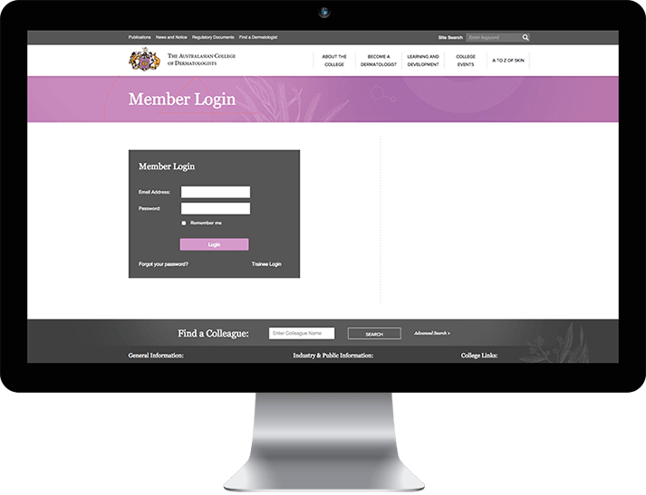 The  Australasian College of Dermatology approached RADAR to develop a member website with a custom back-end CRM platform