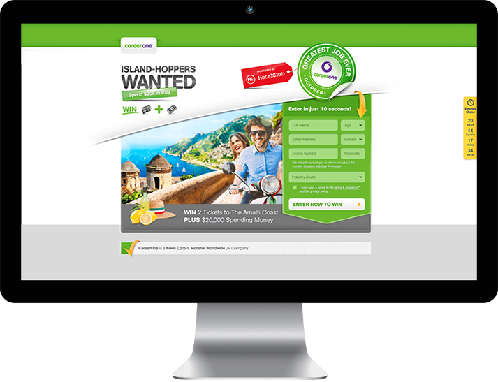 For CareerOne RADAR developed a traffic generating promotional microsite