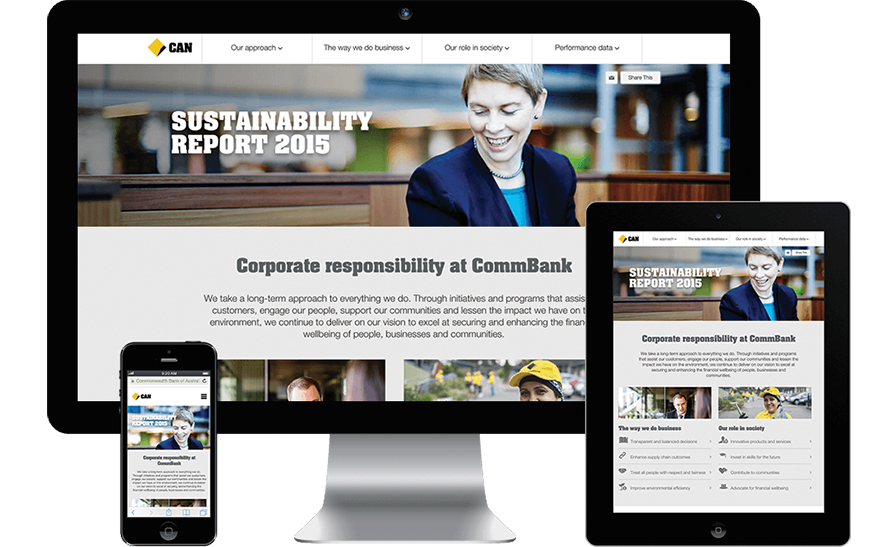 CBA approached RADAR to develop an interactive Corporate Sustainability microsite, which delivers information in an interesting, easy to digest manner