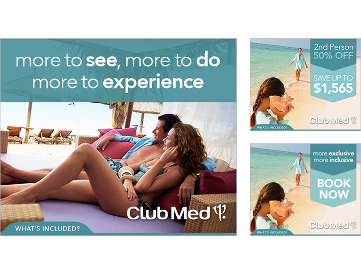 For ClubMed, an online advertising campaign by RADAR to to maximise enquiries from Australians for Club Med Resorts