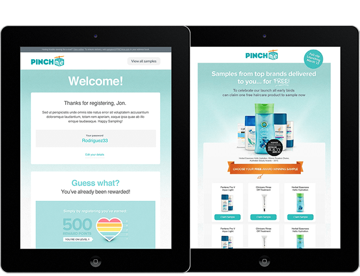 PINCHME engaged RADAR to develop a data rich, audience segmenting website that offers consumers free product samples